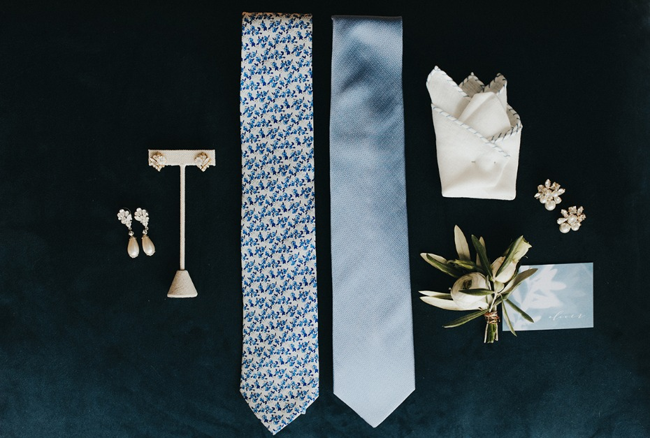 soft blue groom accessories and bridal jewelry