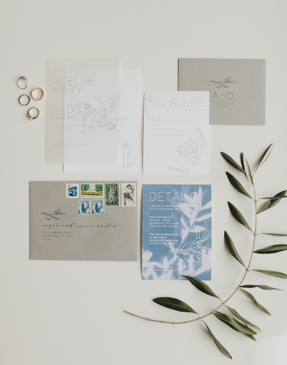 organic and modern styled wedding invitation suite