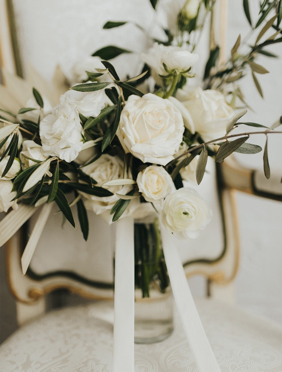 white rose and olive branch wedding bouquet