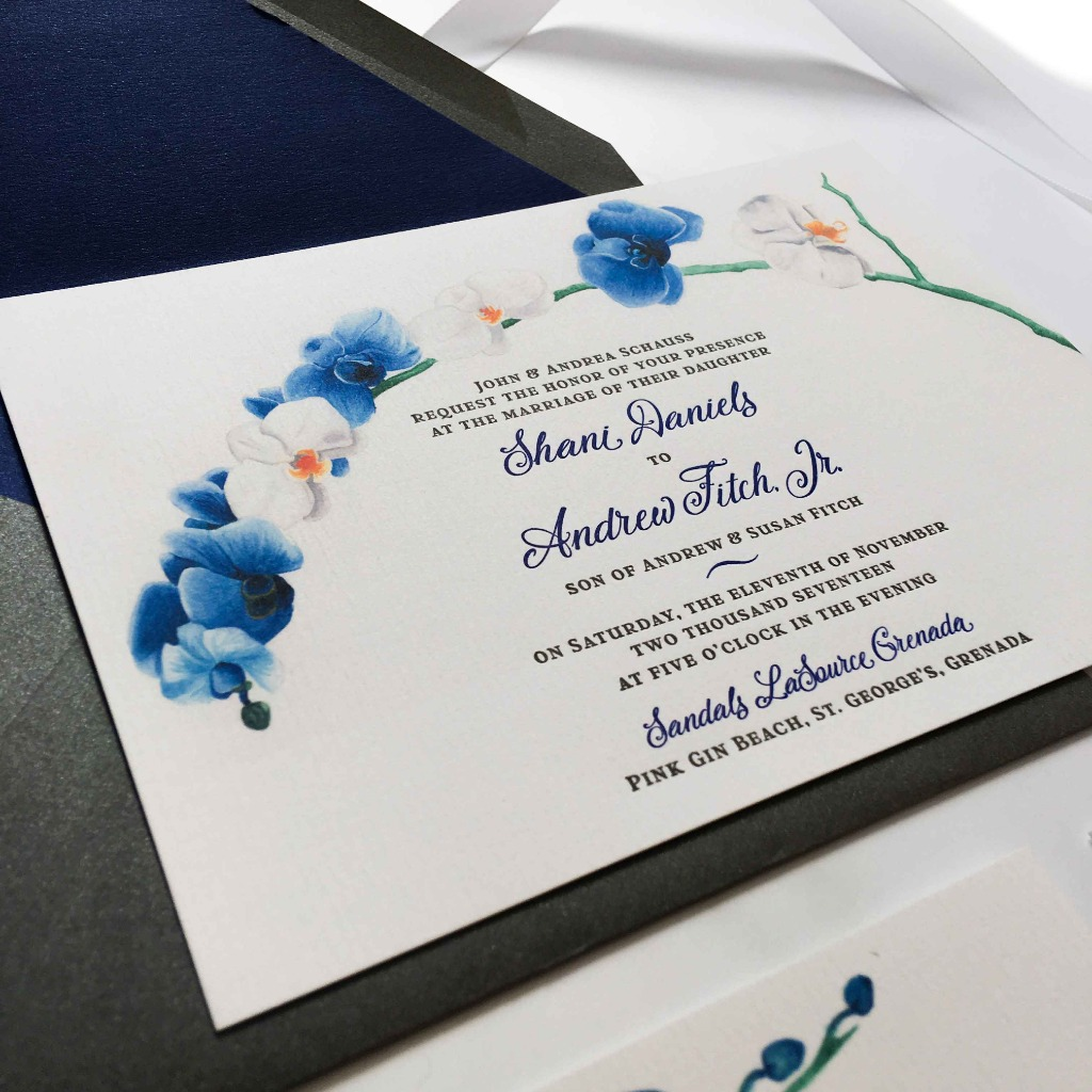 Letterpress custom invitation with hand painted orchids