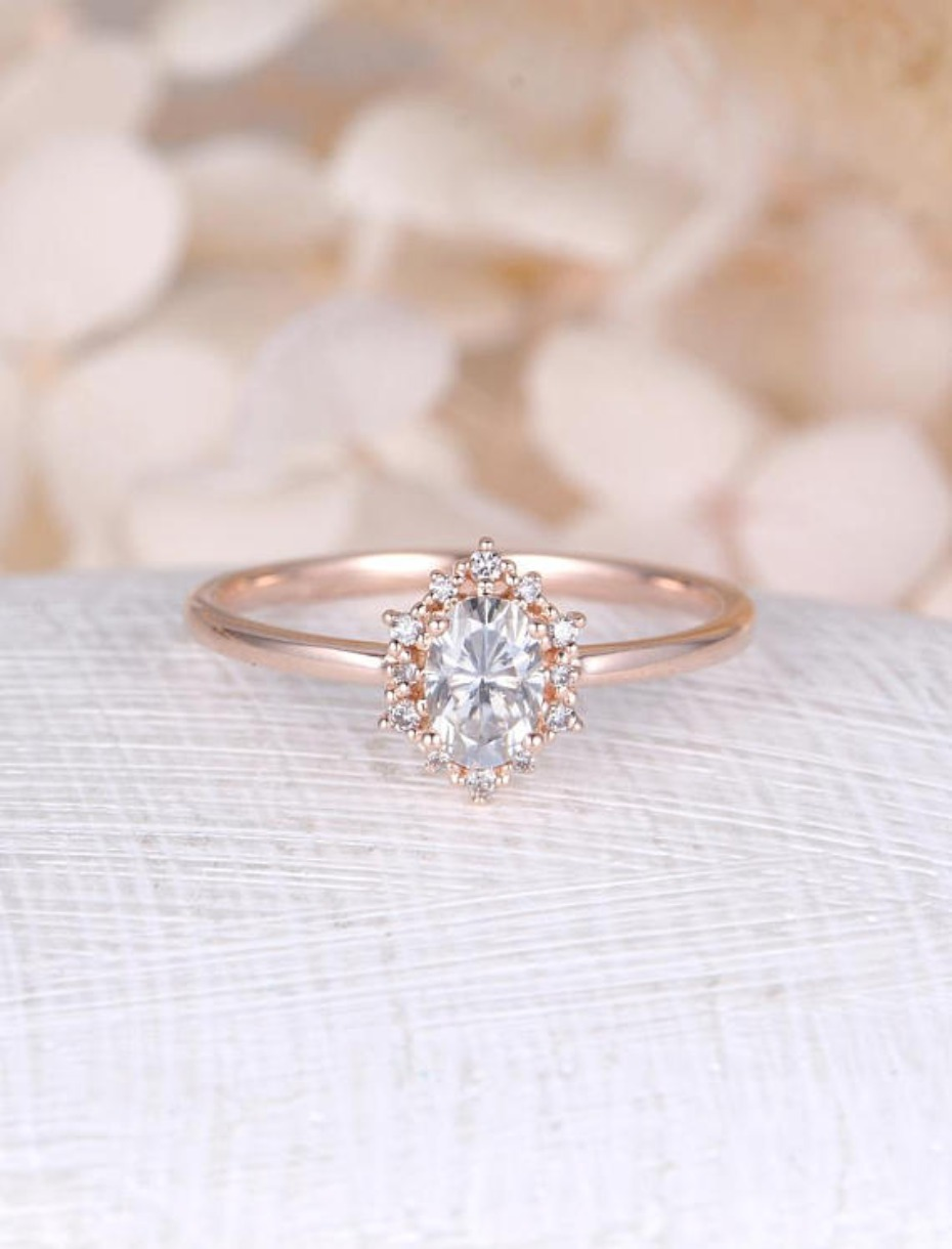 NY fine jewelry vintage oval moissanite engagement ring