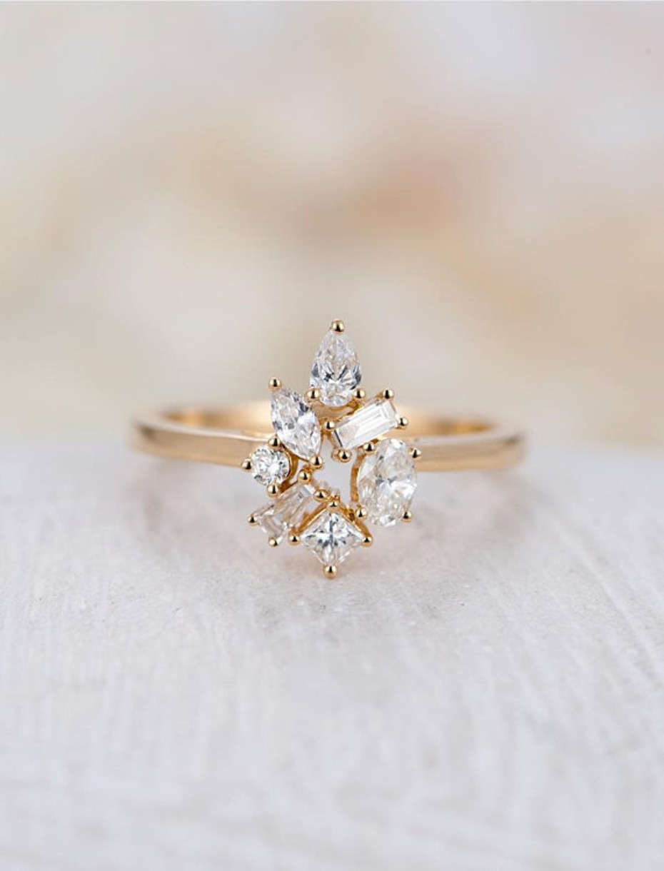 Ny fine jewelry unique floral cluster engagement ring