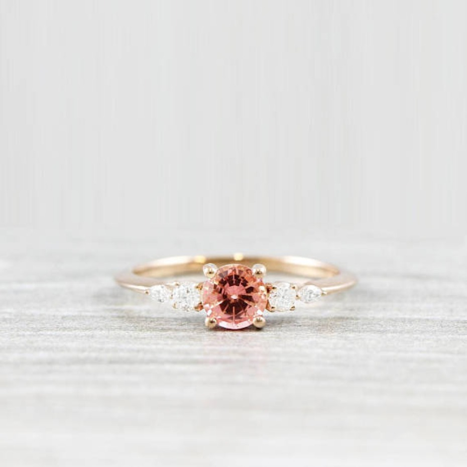 Aardvark Jewellery Champagne Rose Sapphire Engagement Ring