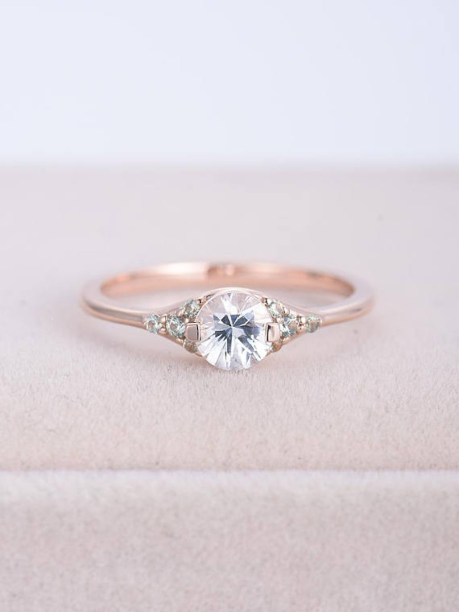 Ring Only Rose Gold Cluster Engagement Ring