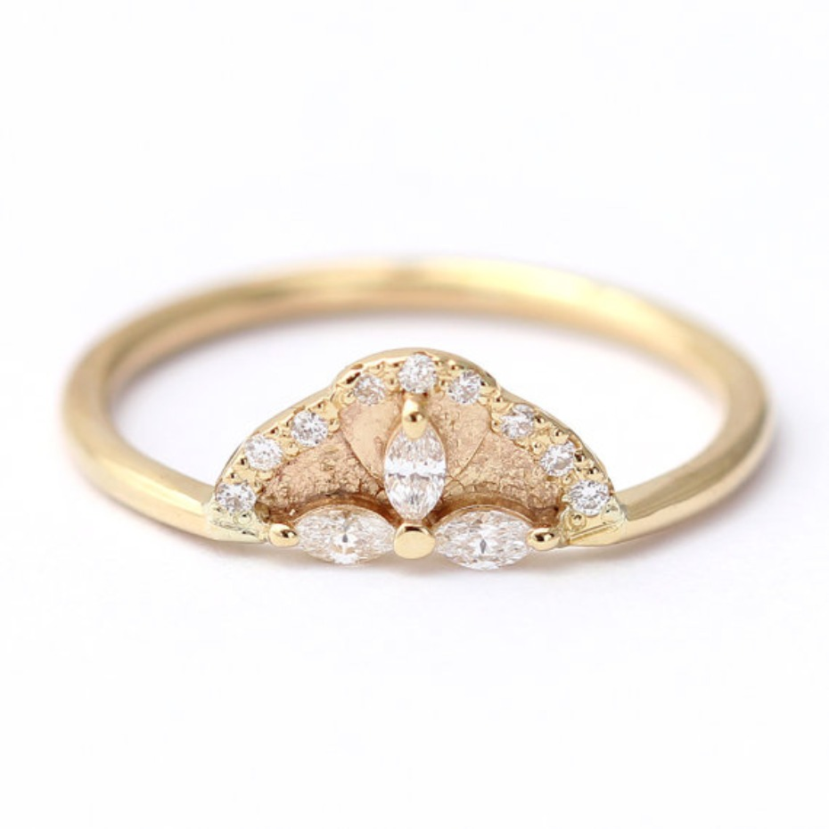 Artemer Marquise Diamond Engagement Ring with Petals