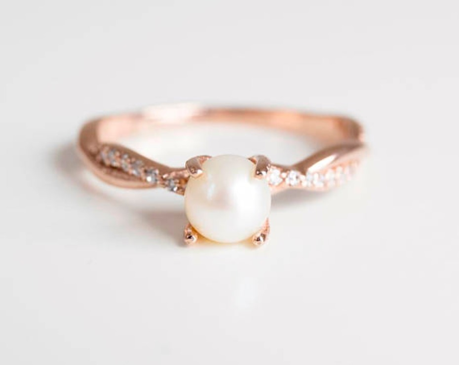 Ida Jewelry Design Pearl Engagement Ring