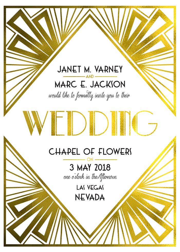 Print: Art Deco Free Printable Wedding Invites