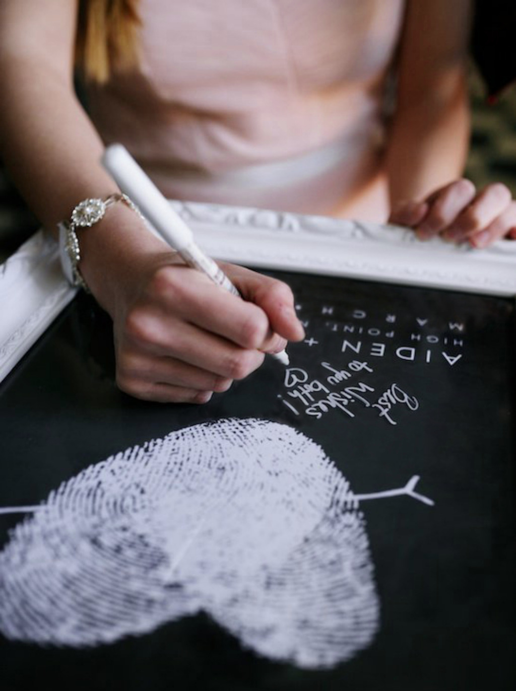Don't forget the guest book! This alternative to a traditional guest book is made with your own fingerprints - truly one-of-a-kind