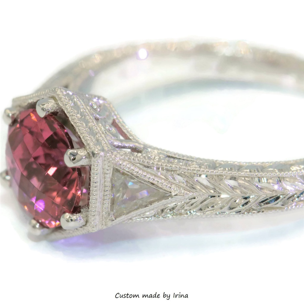 Hexagon head pink natural tourmaline hand engraved white gold ring.