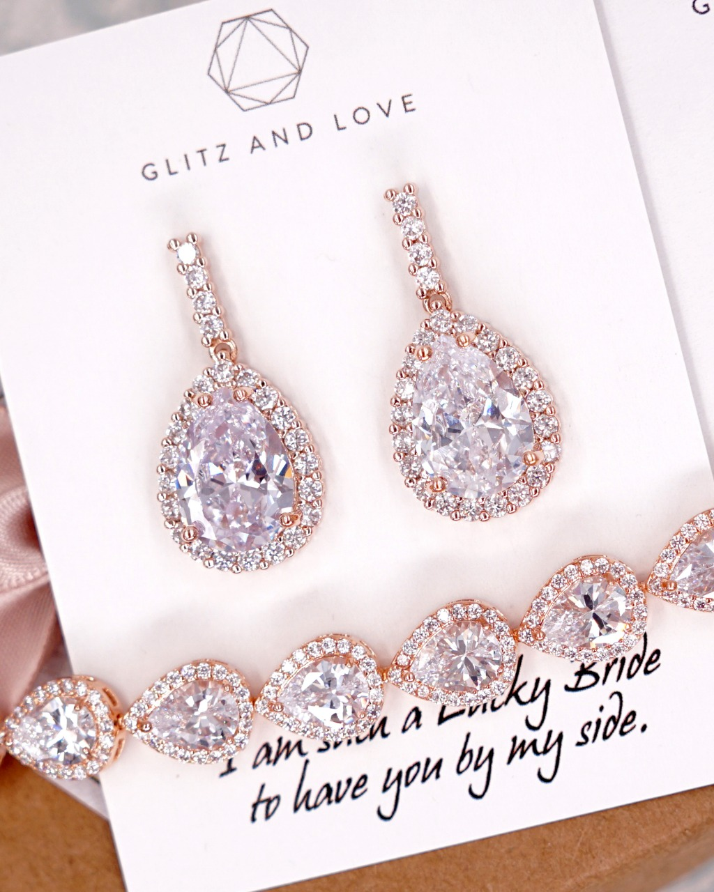 Rose Gold Teardrop CZ Jewelry earrings, bracelet, necklace, brides, bridesmaids, bridal shower gifts, personalised gift, mother of