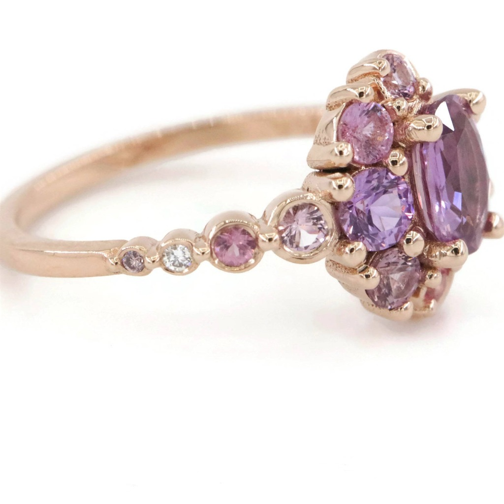 Rose Gold Cluster Sapphire Ring from Luna Collection