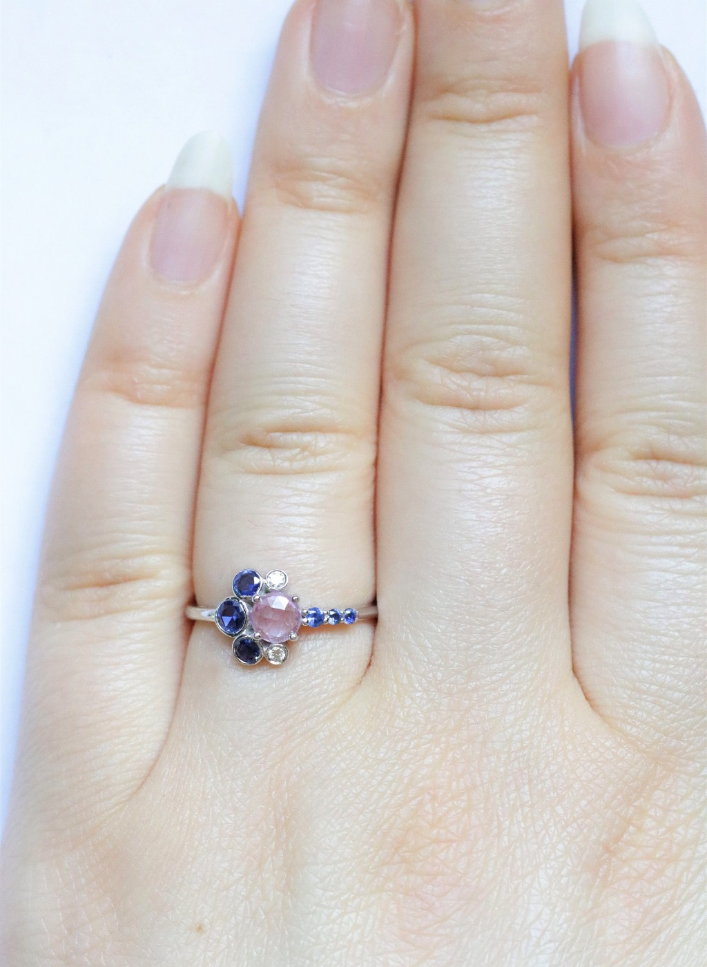 Hand-crafted Cluster ring with Colorful Sapphires. Extra low set for Comfort and Modern Beauty.