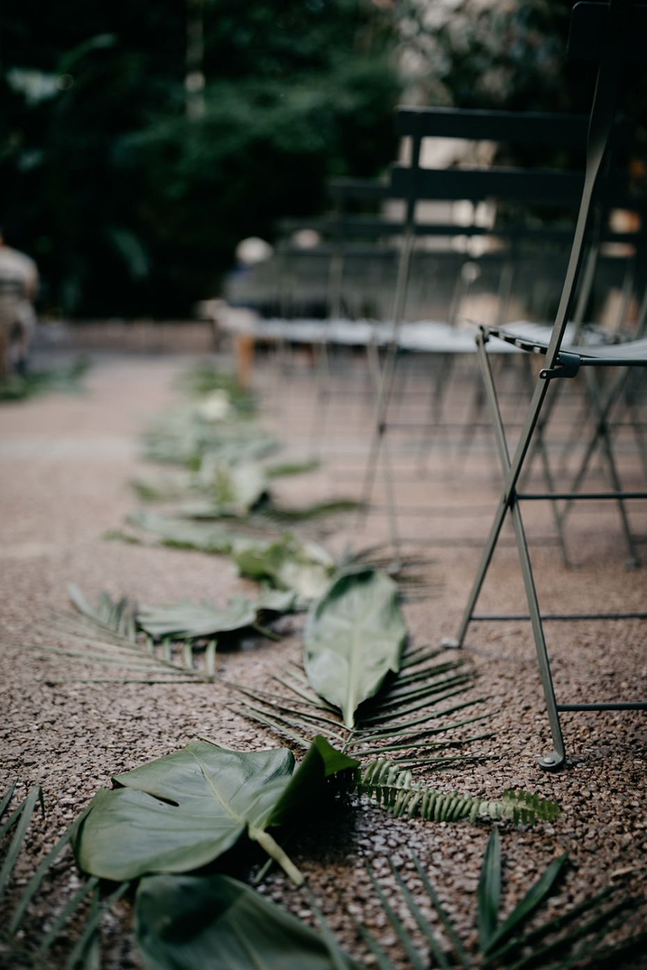 Ceremony decor with tropical leaves