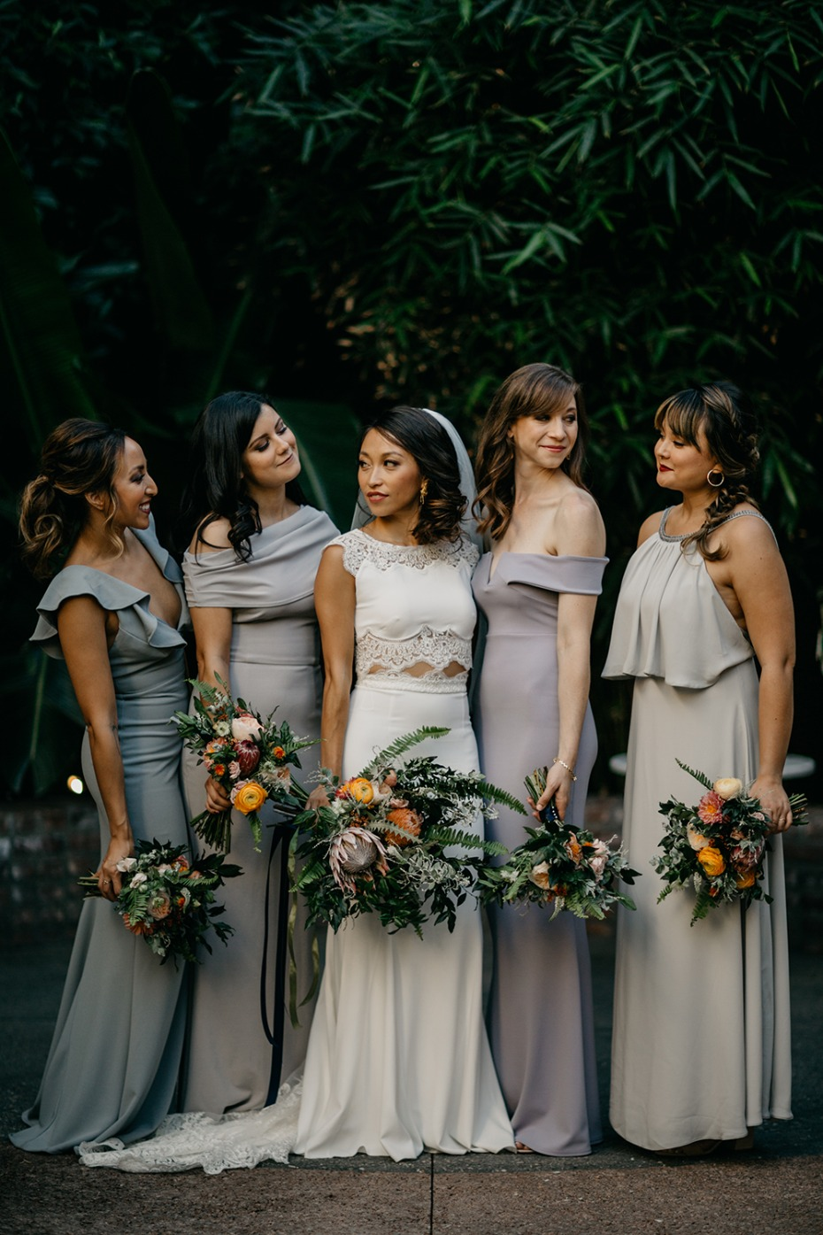Bridesmaids in neutral tones