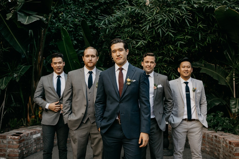 Mix and match groomsmen suits