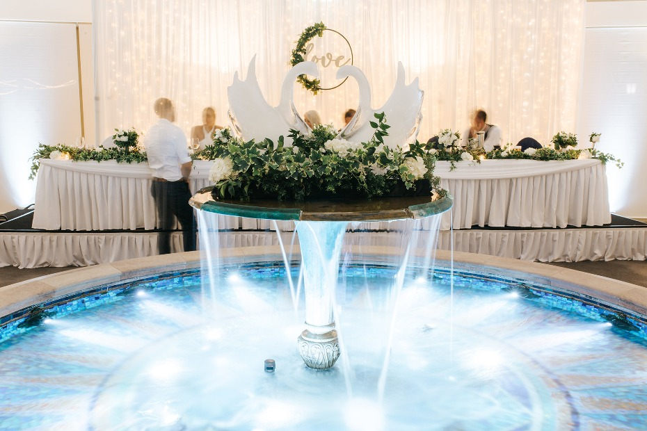 fountain at the wedding reception