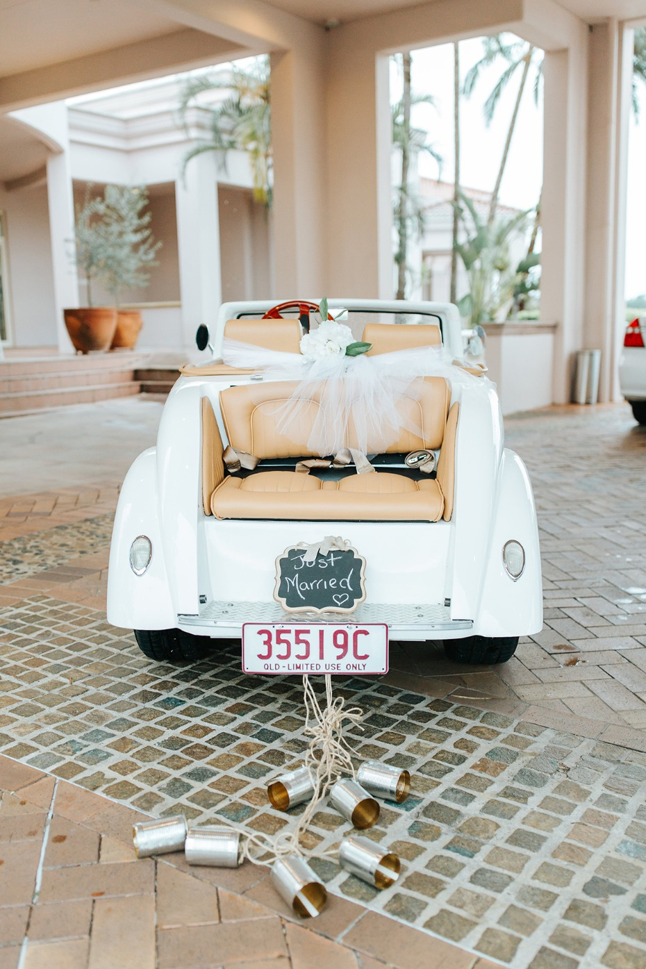 cute wedding getaway car