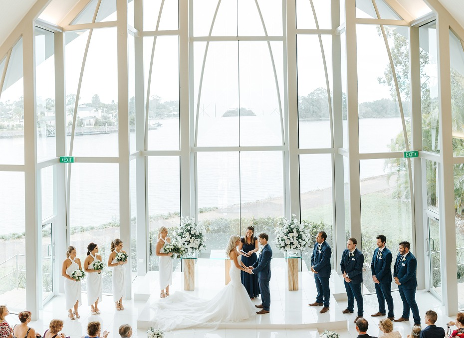 floor to ceiling windows and wedding chapel