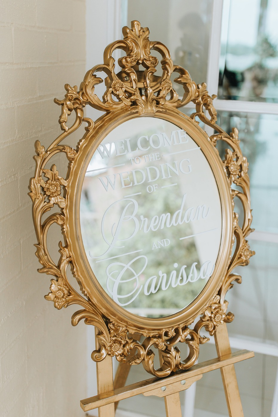 glamorous mirror wedding sign