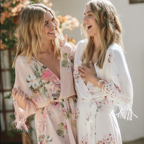 Printed Robes with Trim