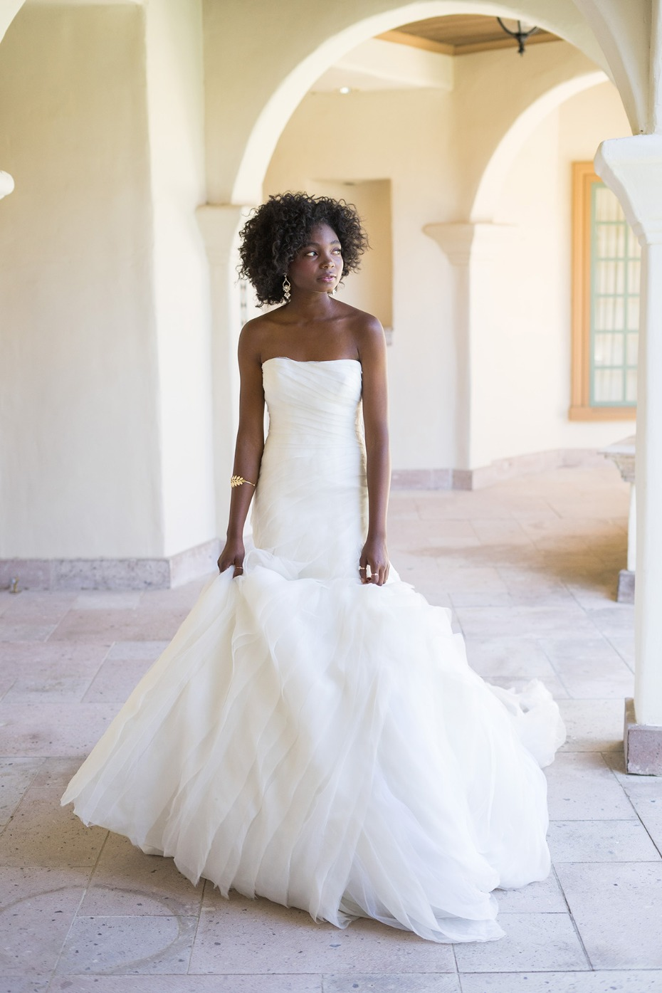 WHITE by Vera Wang Exclusively for David's Bridal Bias-Tier Trumpet Wedding Dress, $1,498