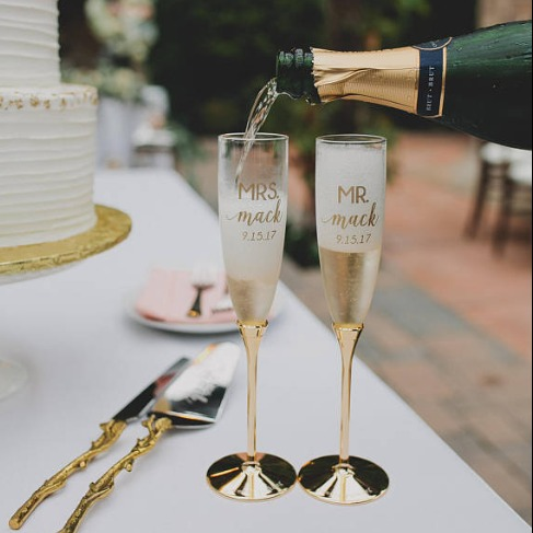 Personalized Kate Spade Champagne Glasses