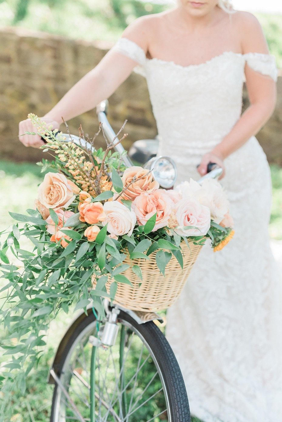 bicycle and floral filled basket