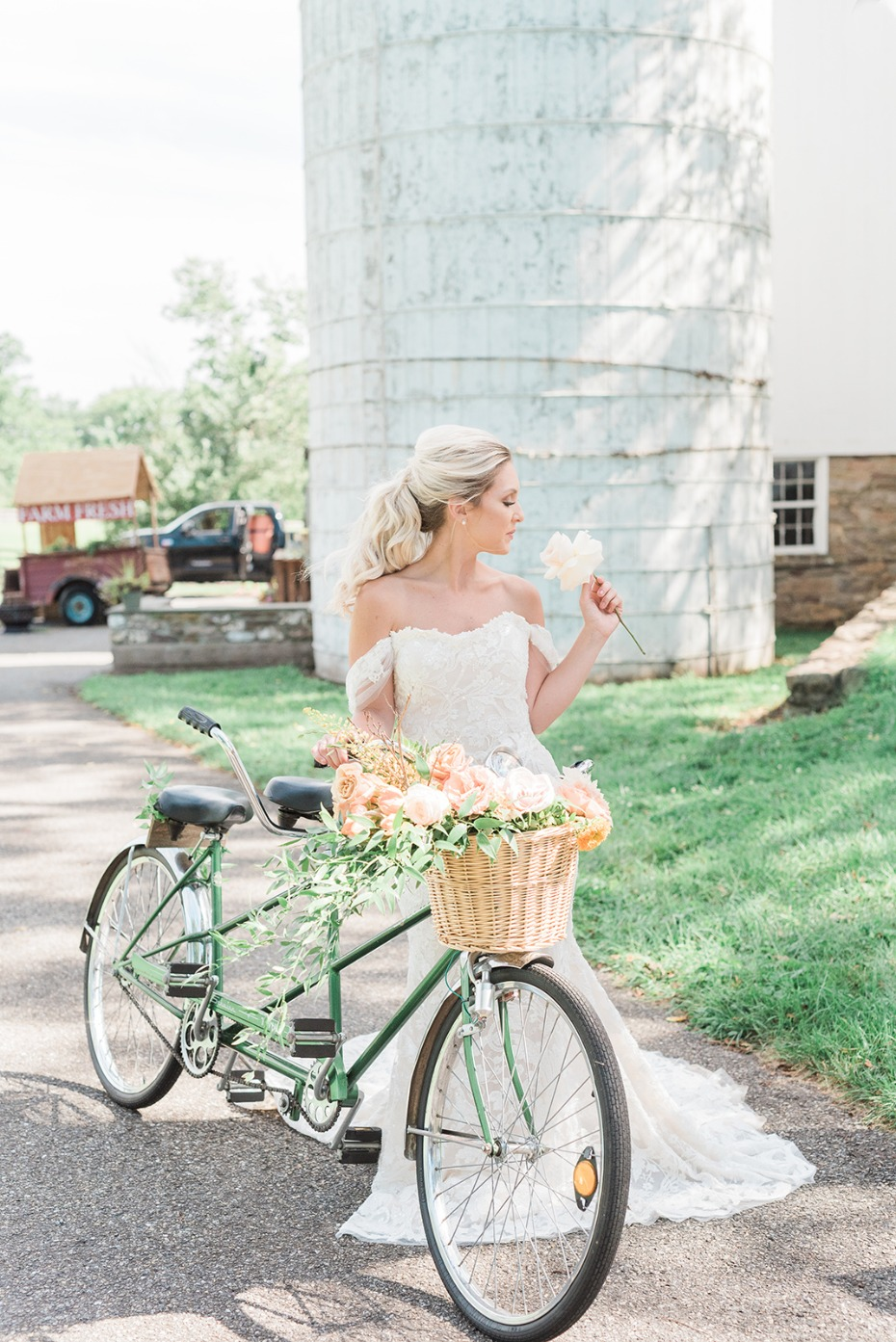 bride and a bicycle built for two