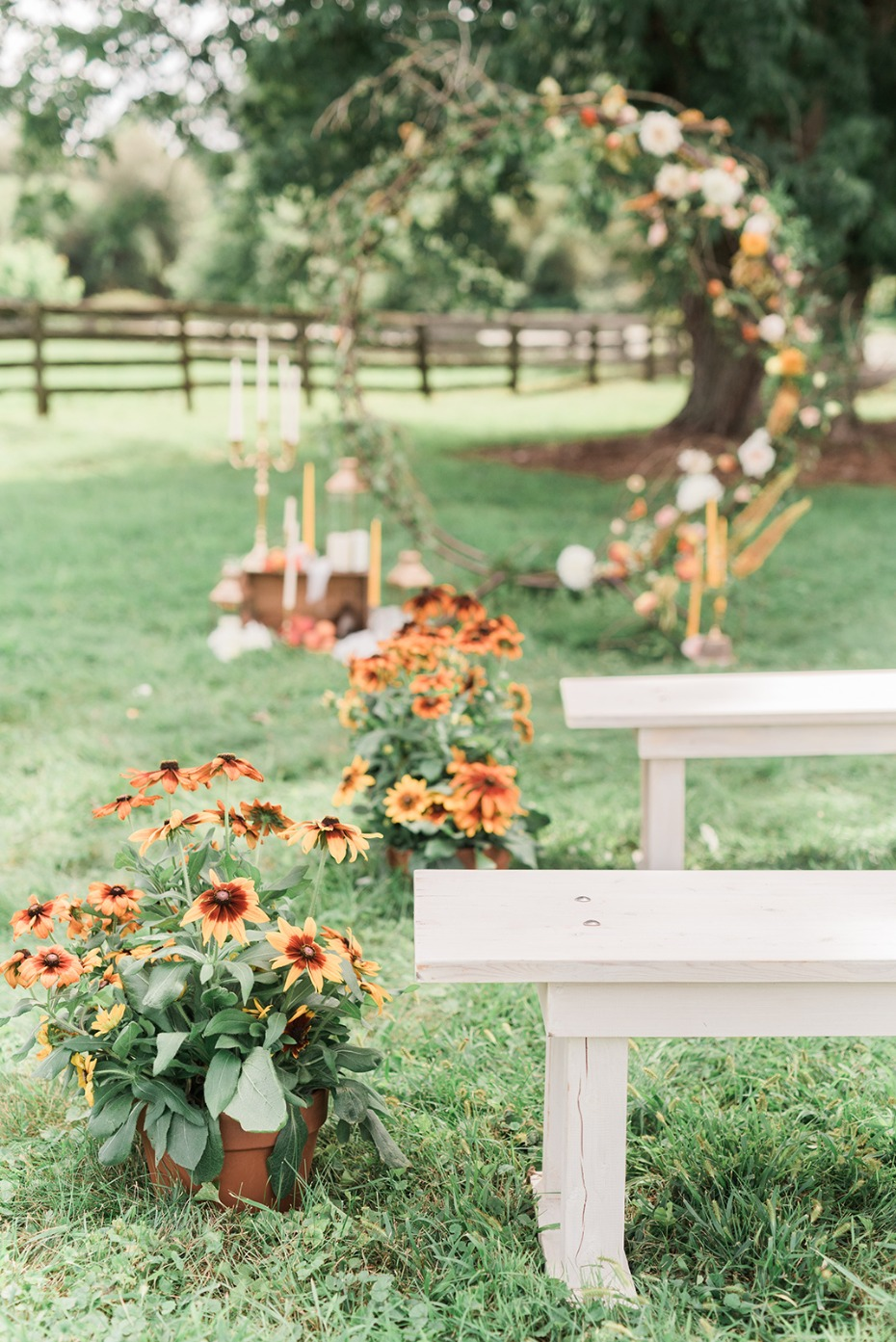sunflowers and summer time outdoor wedding