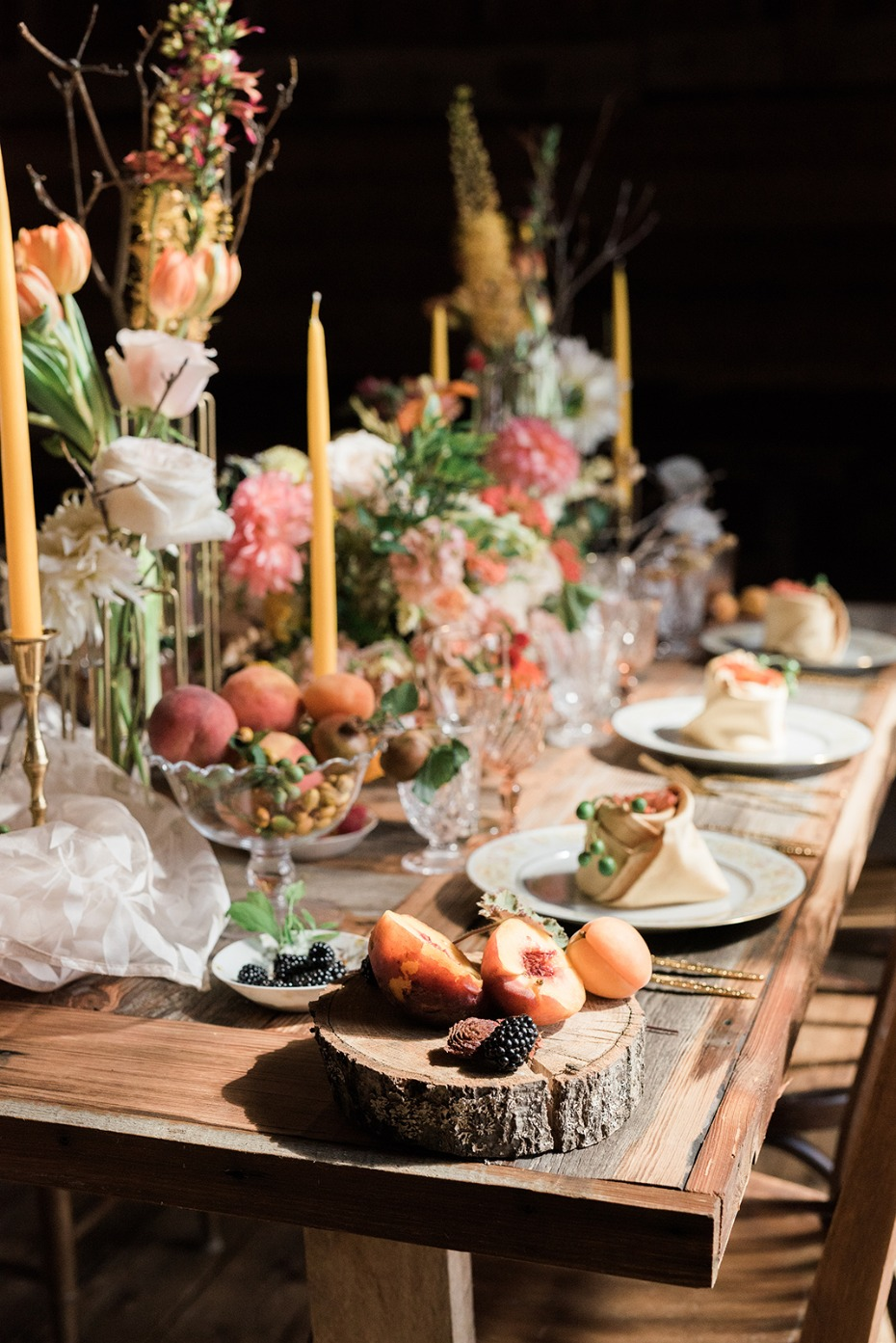 farm fresh and rustic summertime wedding table