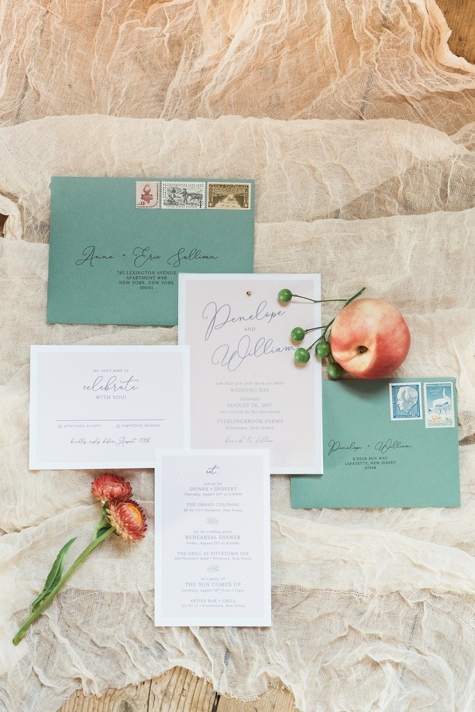 soft and simple wedding invitation suite