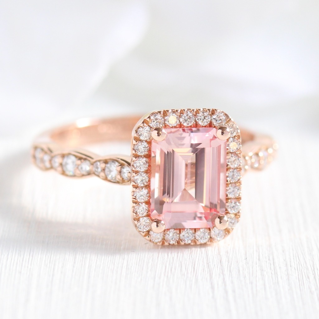New Ring Alert! We've added emerald cut to our list of stone shapes! Check out this gorgeous Emerald Cut Champagne Peach Sapphire Halo