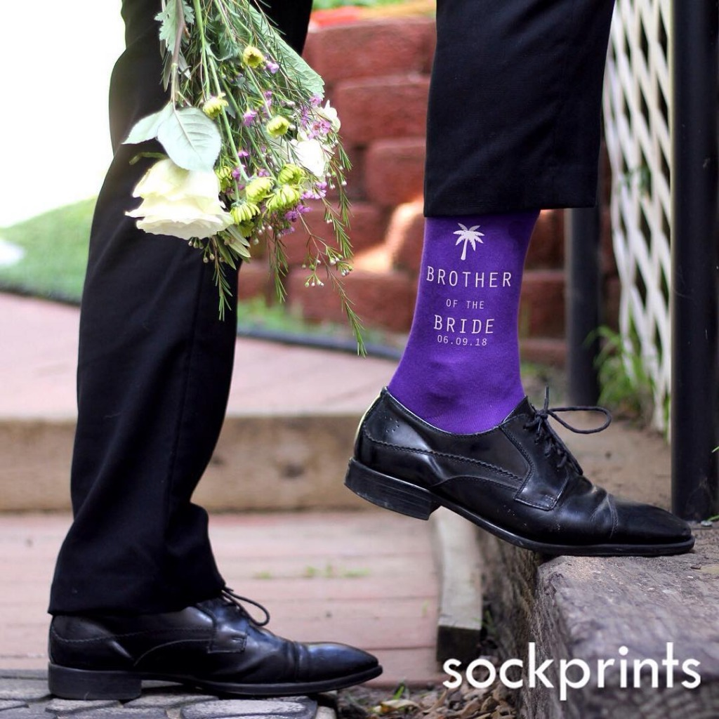 We print custom socks for happy soles. This fun and fresh idea is perfect for any wedding event!