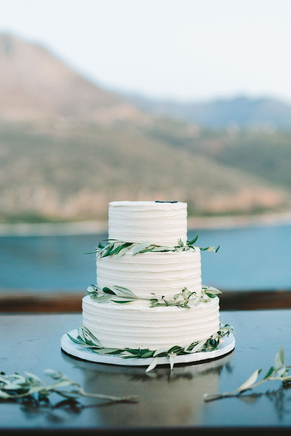 simple olive branch decorated wedding cake