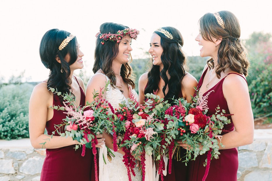 bridal party in burgundy