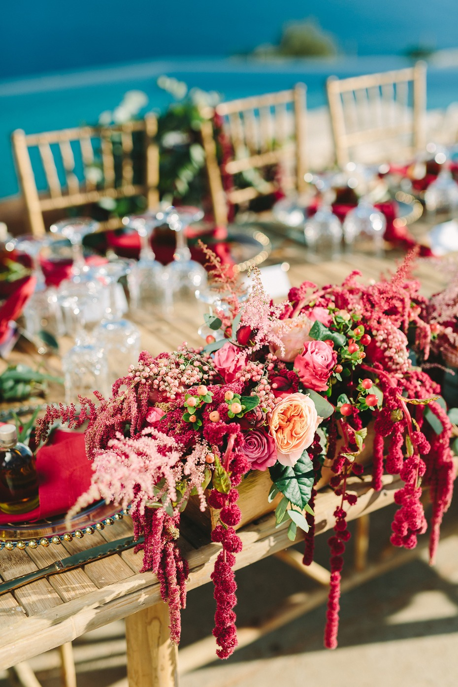 pink and red and wedding flowers