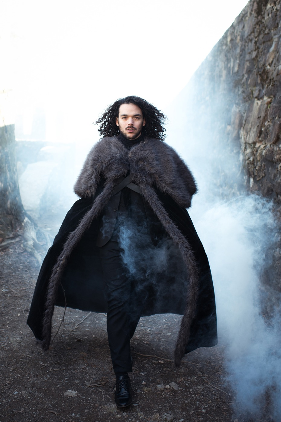 dramatic Jon Snow styled groom portrait