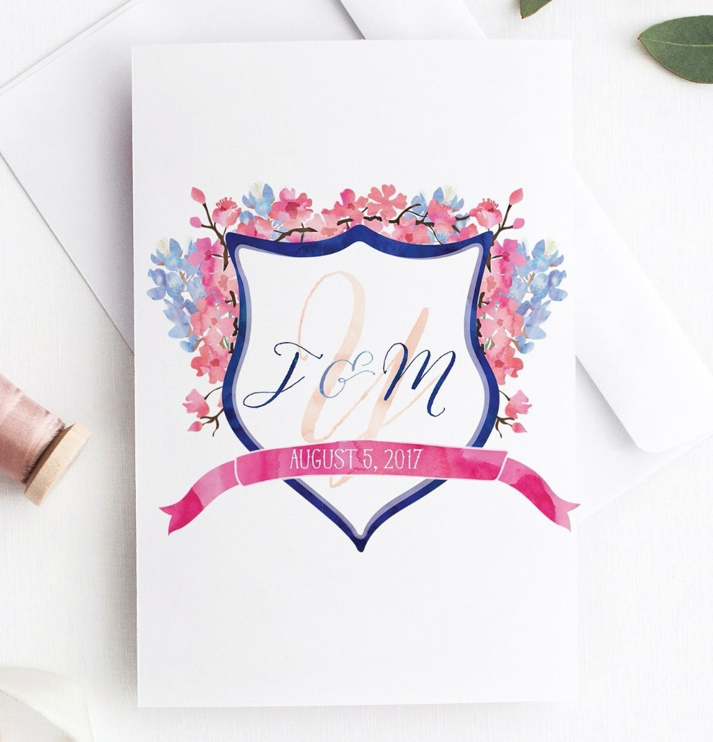 Looking for something a little different? Miss Design Berry can create the perfect custom wedding crest just for you! Tell us what