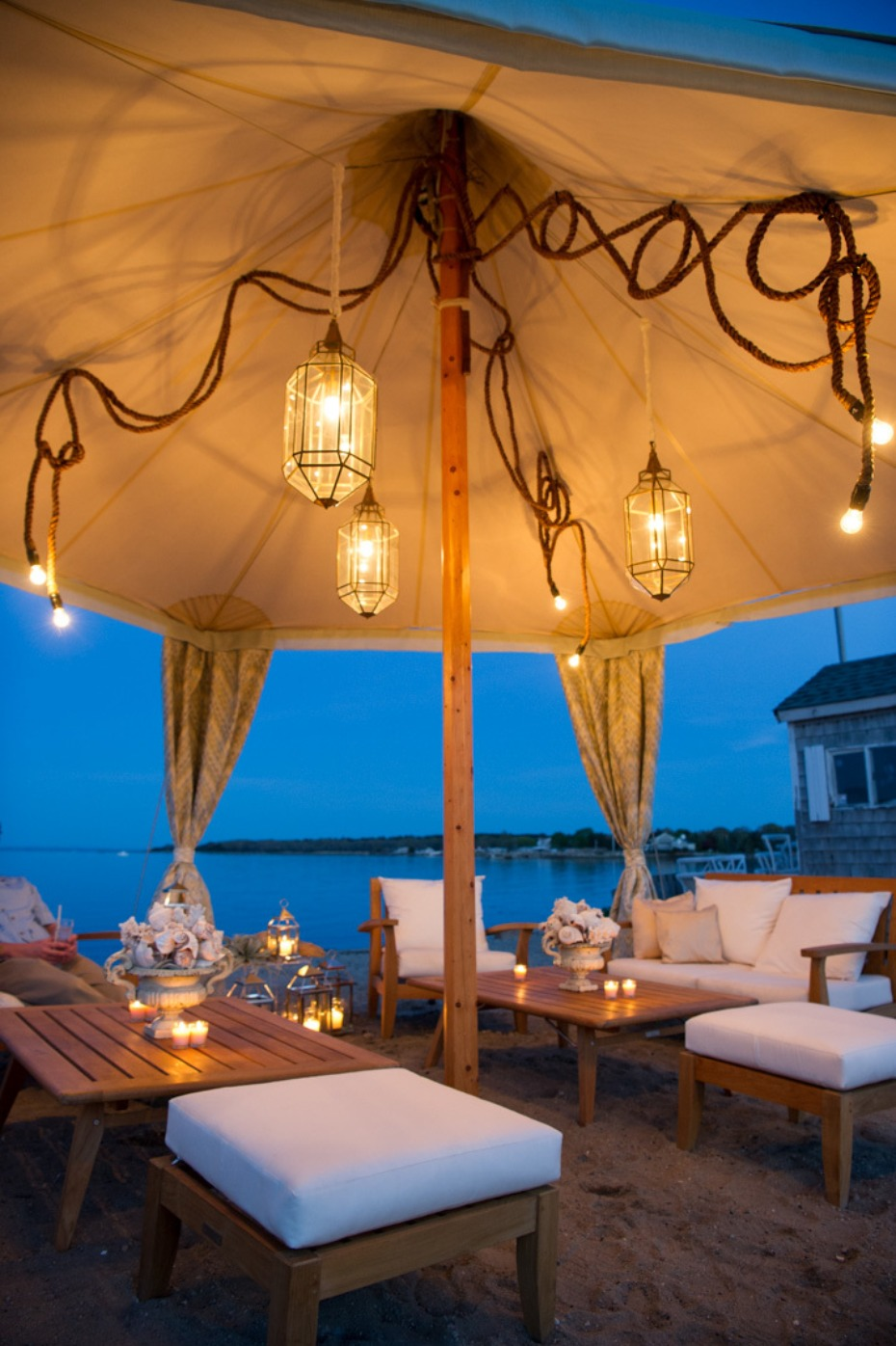 romantic lantern lighting for your beach tent
