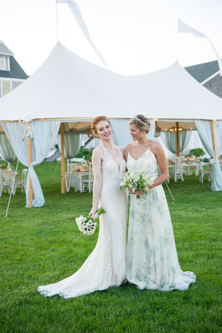 sweet brides in elegant summer dresses