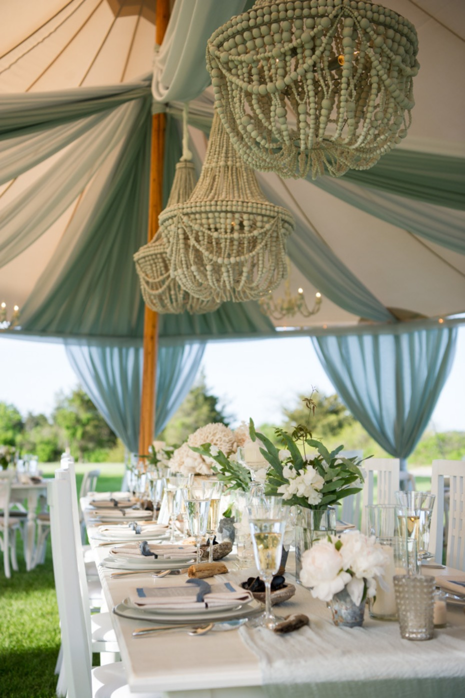 teal tulle draped wedding tent