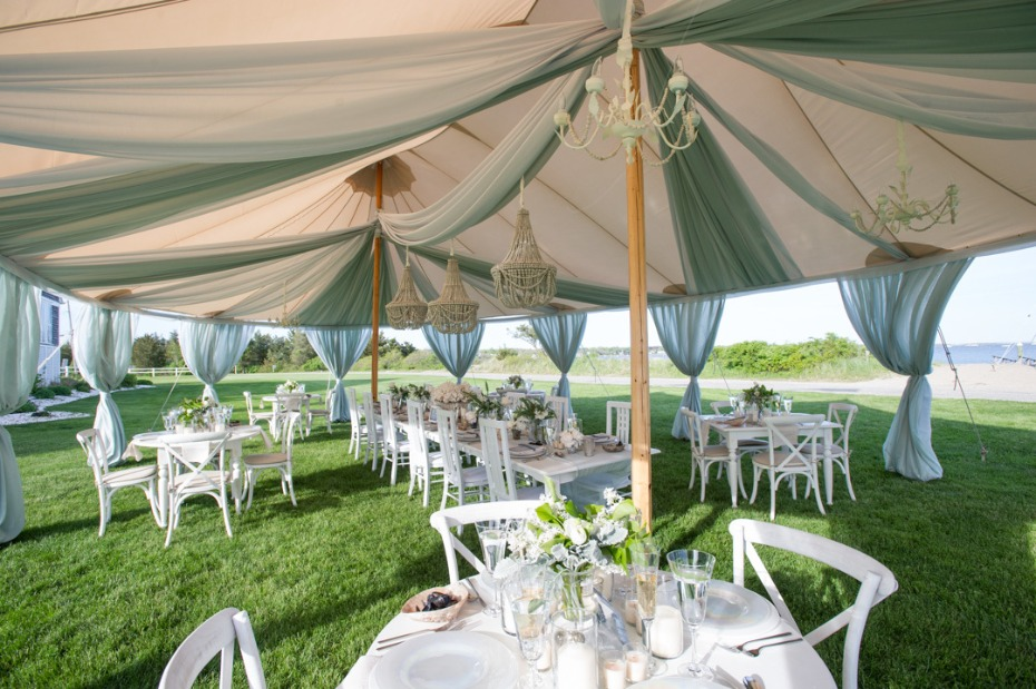 beach inspired wedding reception tent