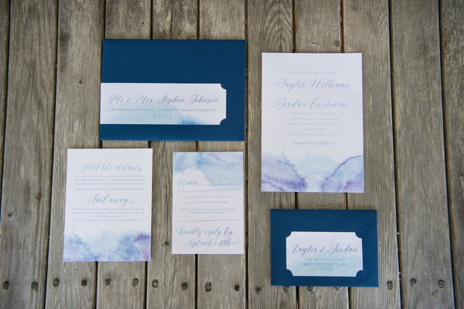 soft watercolor wedding invitation suite