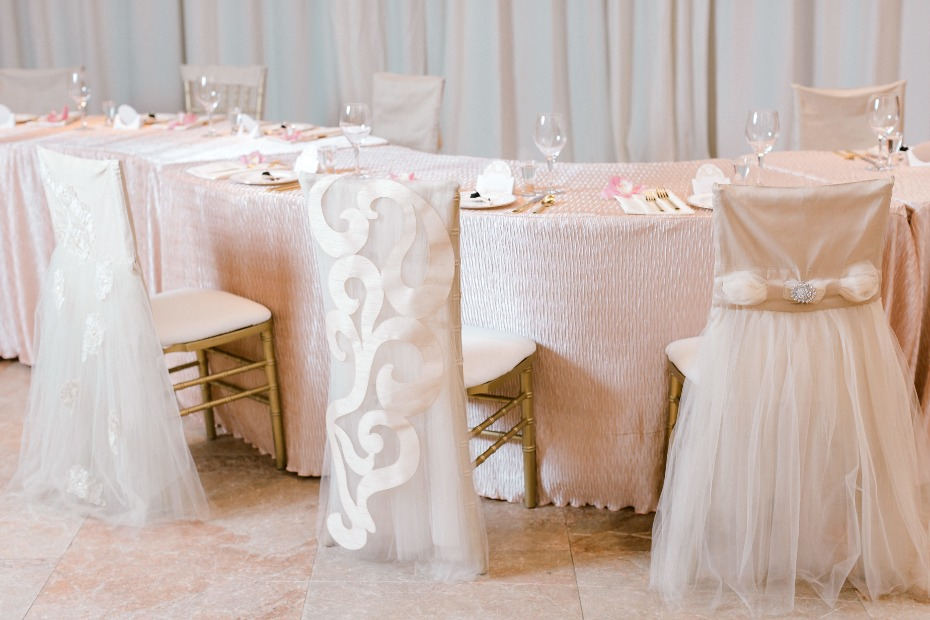 Blush chair linens for a regal wedding