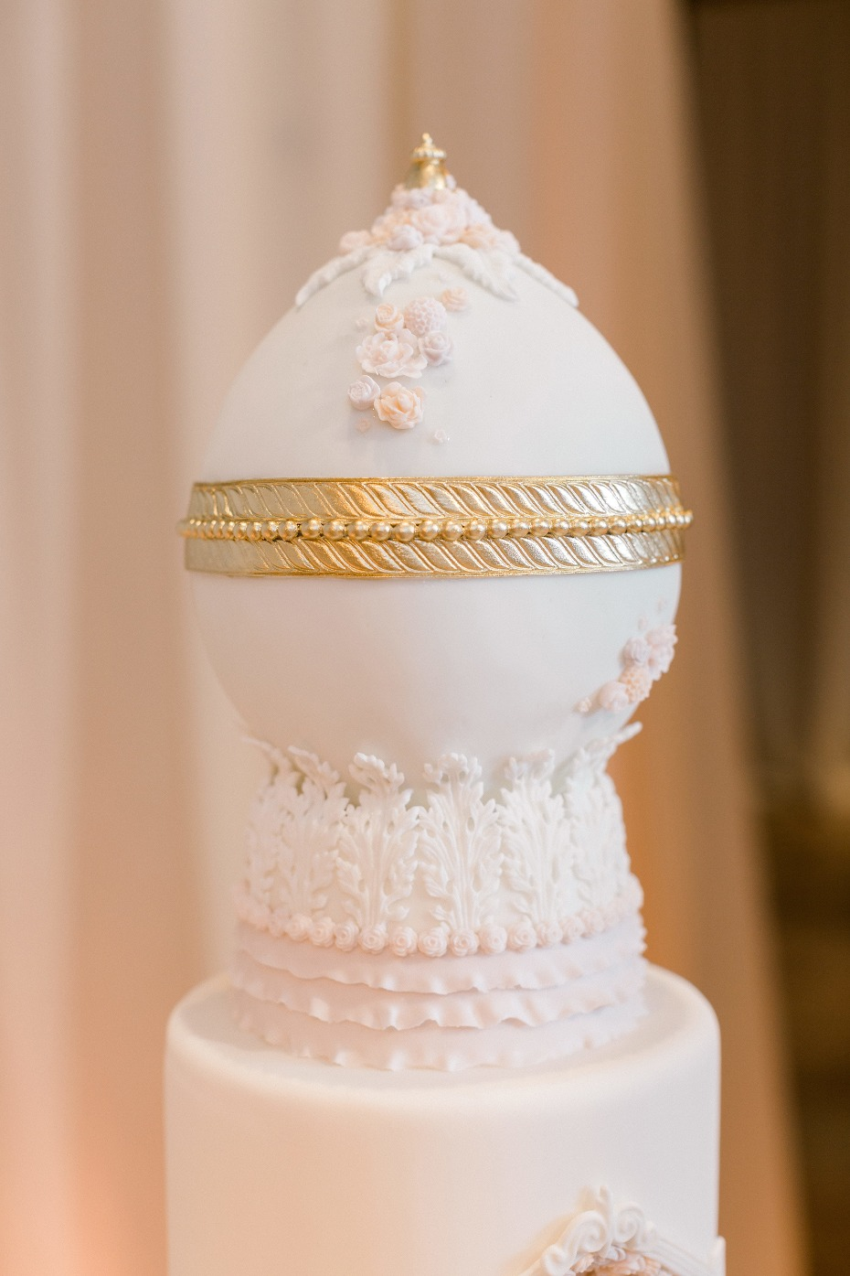 Gold and white faberge egg inspired cake