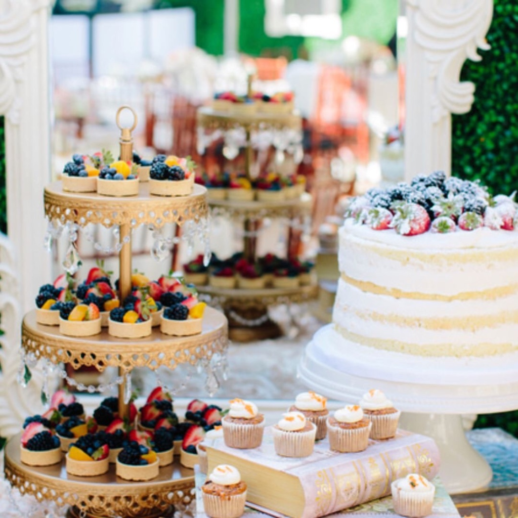 Delicious Desserts! Wedding Dessert Tables created with Opulent Treasures collection of enertaining pieces!