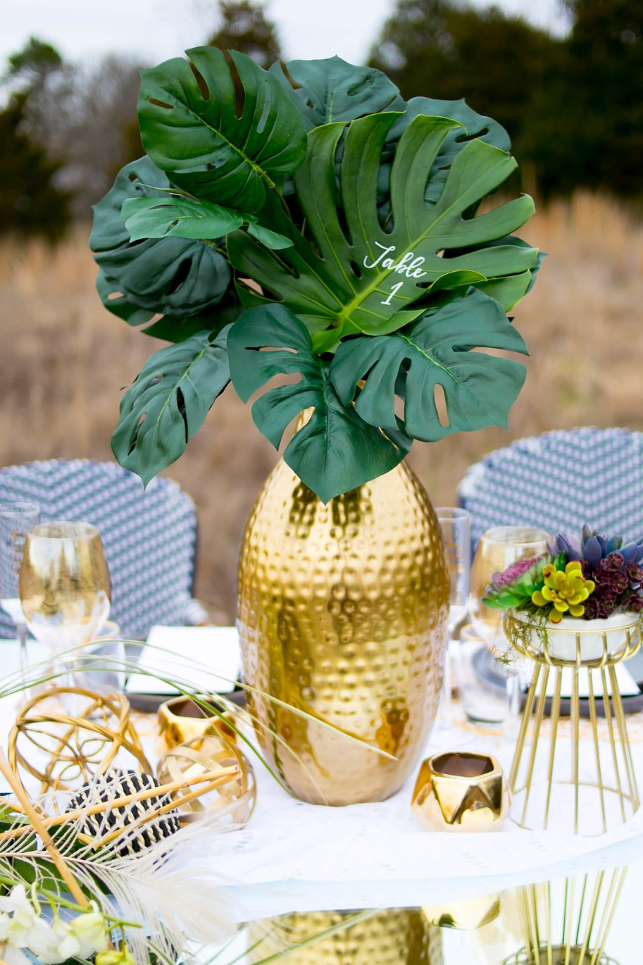 palm leaf table number idea