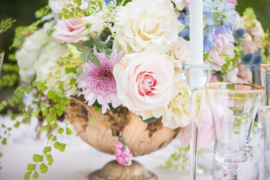 pastel floral wedding arrangement