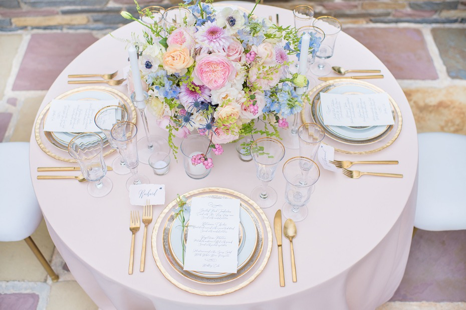 soft pink and gold and pastel wedding table decor