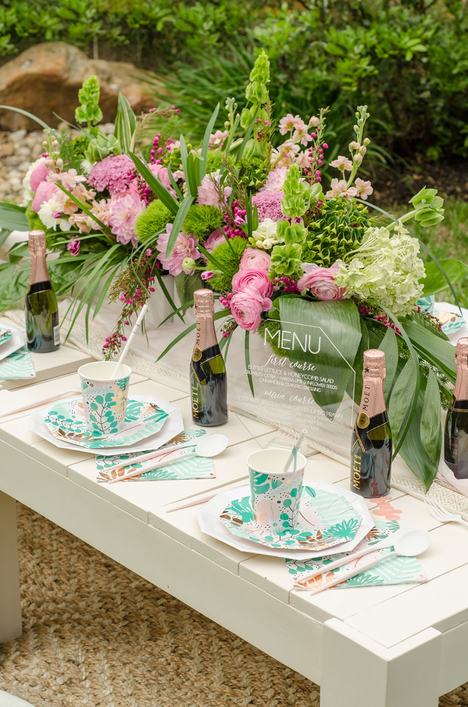 pink green and rose gold wedding table decor idea